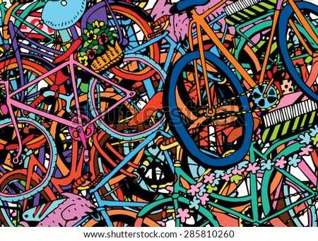 I Love My Bicycle Colage - stock vector