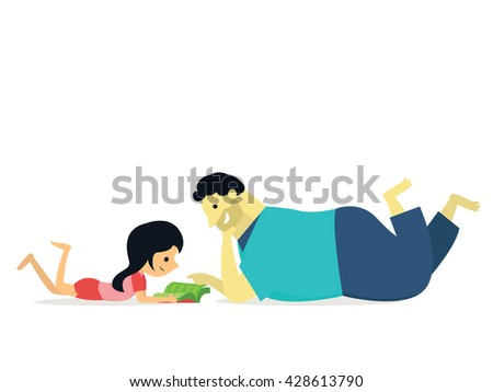 I love my big daddy. Vector illustration of daughter lying on ground learning and reading book with big daddy, family concept of happy father day.  - stock vector
