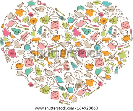 I Love My Kitchen - items & utensils in heart shape - stock vector