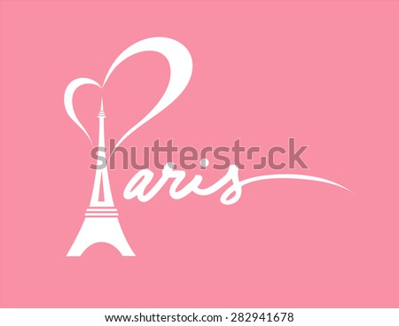 I Love Paris - Vector Graphic with Pink Background - stock vector