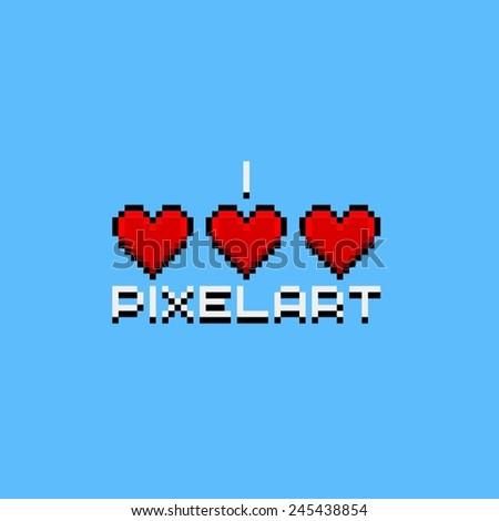 I love pixel-art logo with 3 hearts - stock vector