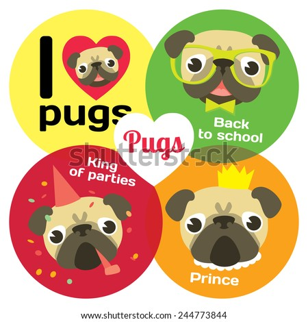 I love pugs. Funny pugs in different situation: pug's party, pug-prince, pug-schoolboy - stock vector
