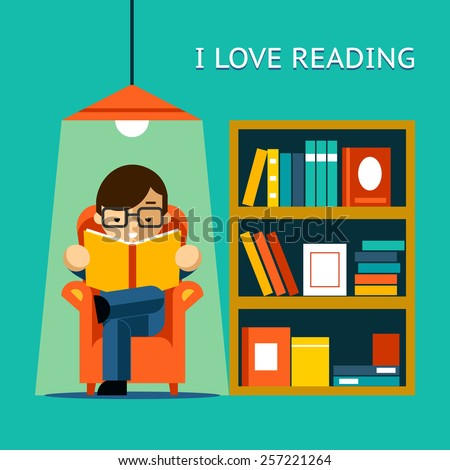 I Love Reading. Man sits in a chair and read your favorite book next to the bookcase. Vector illustration - stock vector