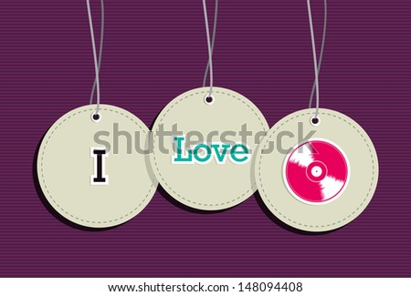 I love retro Dj music hang tags icon set. Vector file layered for easy manipulation and custom coloring. - stock vector