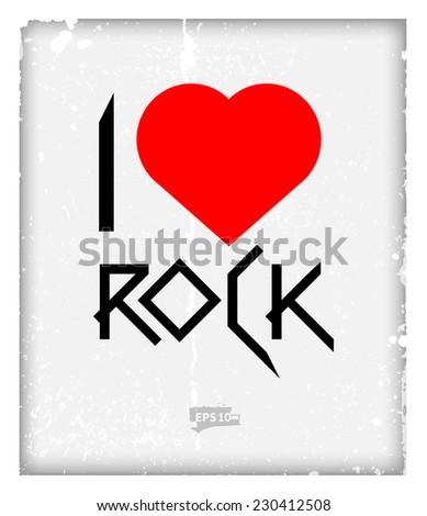 I love rock symbol. Vector illustration - stock vector