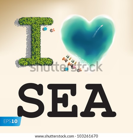 I love sea vector eps10 image