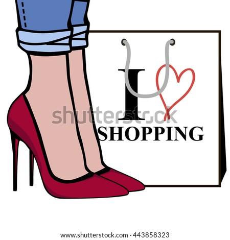 love shopping fashion illustration women foot stock vector 443858323 rh shutterstock com Personal Shopper Advertisement Shopper Basket Vector