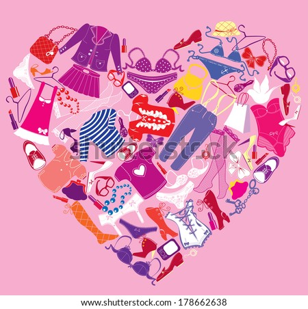 I Love Shopping image, the heart is made of different female fashion accessories and glamor clothes - stock vector