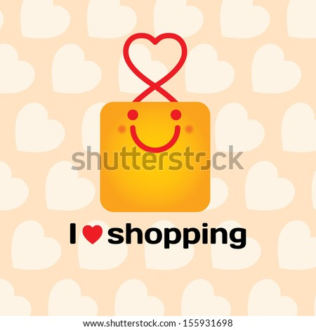 I love shopping. Smiling bag with hearts on background. Vector illustration  - stock vector