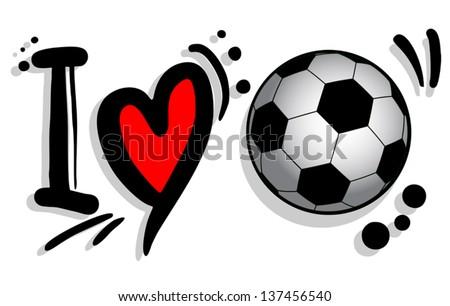 I love soccer - stock vector