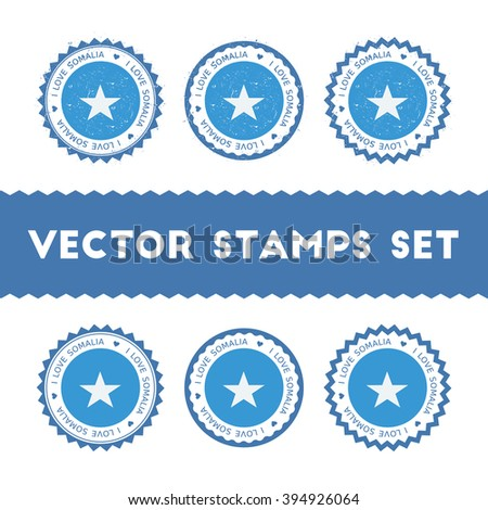I Love Somalia Vector Stamps Set. Retro Patriotic Country Flag Stamps. Somalia Flag Vintage Round Signs. I Love Somalia stickers collection. - stock vector