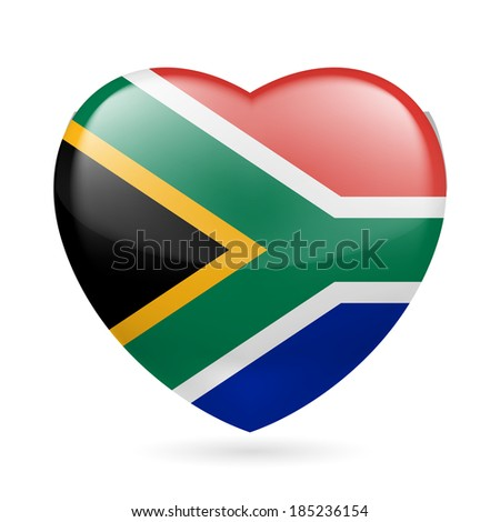 I love South Africa. Heart with flag colors