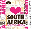 I love South Africa seamless typography background pattern in vector - stock photo