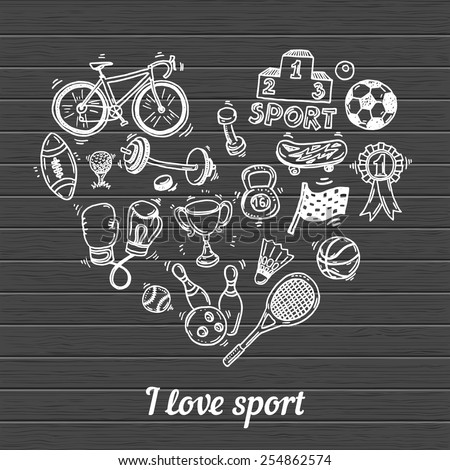 I love sport, hand drawn doodle set - stock vector