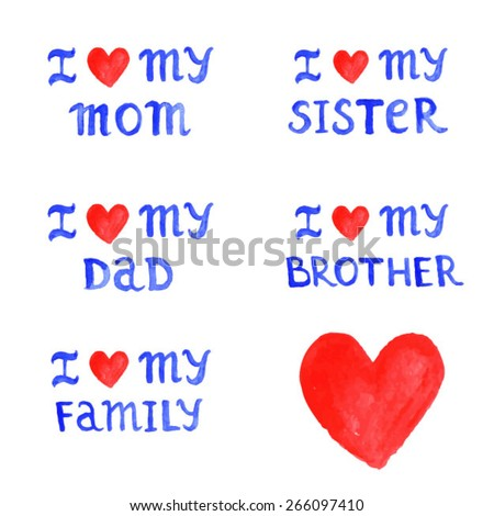Love stickers about family watercolor labels stock vector 266097410 i love stickers about family watercolor labels i love my mom i love altavistaventures Choice Image