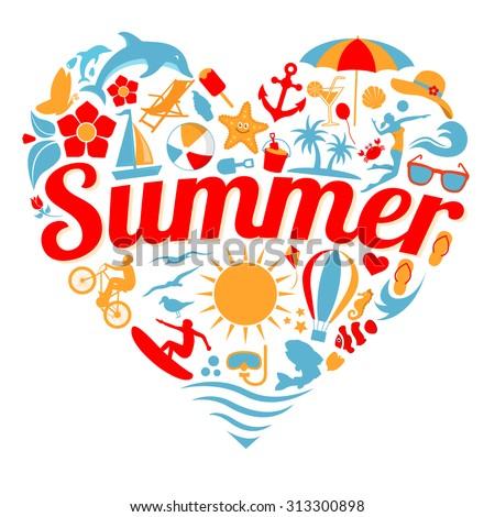 I Love Summer - stock vector