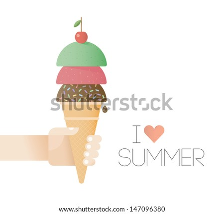 I love summer! Children's hand holding ice cream with cherry on top - stock vector