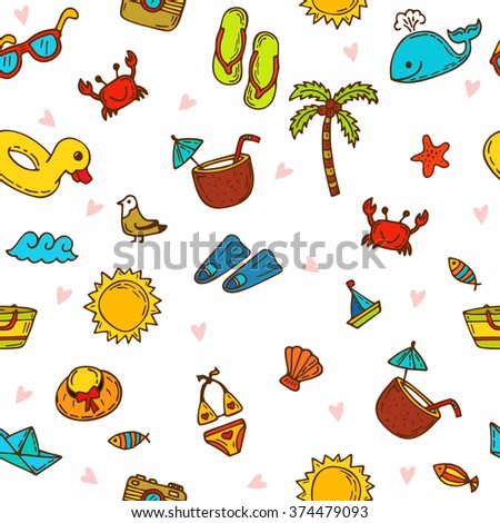 I love summer. Seamless summer pattern with hand drawn beach icons. Vector beach background. Summer print. Vector illustration