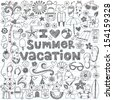 I Love Summer Vacation Tropical Hand-Drawn Lettering Sketchy Notebook Doodles with Palm Tree, Hibiscus Flower, Sunglasses, Flip-Flops, Sandcastle- Vector Illustration on Lined Sketchbook Paper - stock