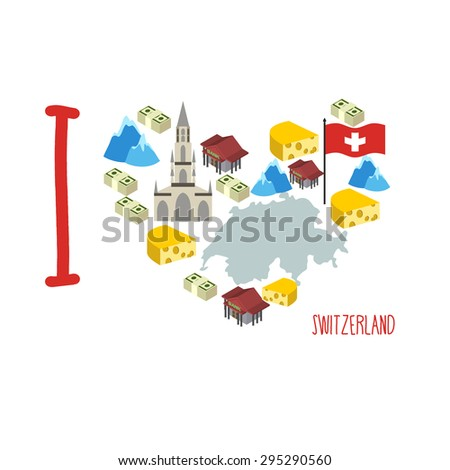 I love Switzerland. Symbol heart of cheese and Alps, Bank and money. Map of Switzerland. Logo tourist. Vector illustration - stock vector