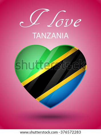 I love Tanzania - glossy heart with national flag on pink background