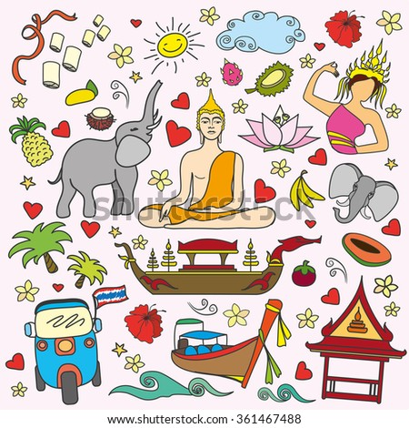 I love Thailand . Set Thai color vector icons and symbols , vector illustration - stock vector