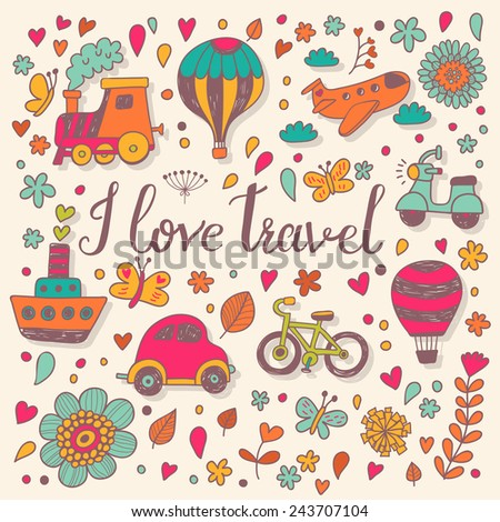 I love travel concept card in bright colors. Stylish background in vector  - stock vector