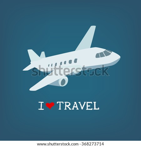 I love travel vector illustration. Iconic image of a plane.