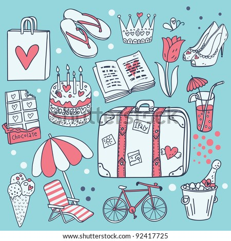 I love traveling! Cartoon vector set - stock vector