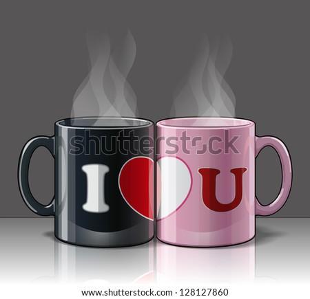 I Love U Mags Black & Pink - stock vector