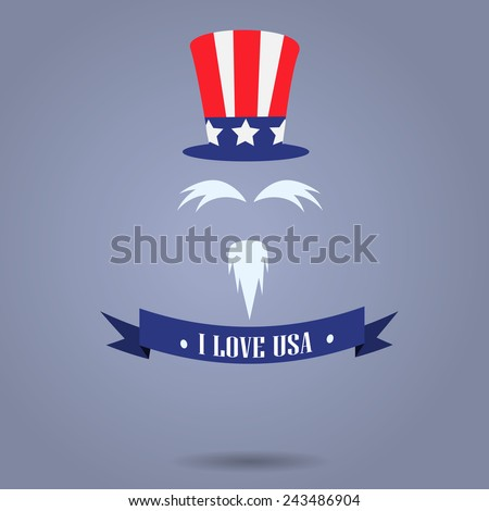 I Love USA badges with uncle Sam hat - stock vector