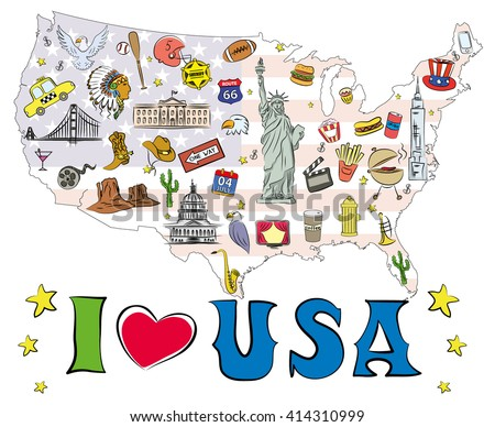 Love Usa Symbols Icons Located On Stock Vector 414310999 Shutterstock