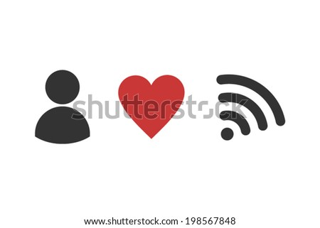 I love wifi - stock vector