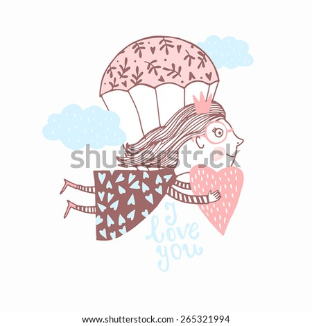 I love you. Cute card.Sweet card with cute girl - stock vector