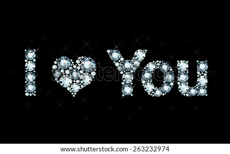 I Love You - diamond letters - stock vector