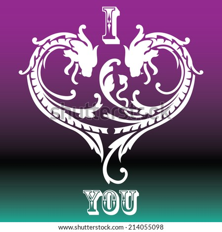 I love you, Dragon shape, mono color - stock vector
