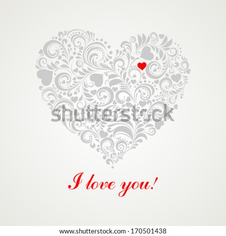 I love you. Greeting card Valentine`s Day. Vector Illustration  - stock vector