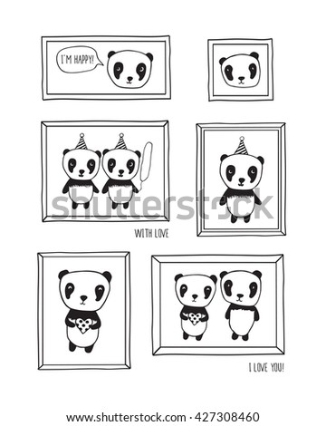 I love you! Greeting cards for Mother's Day, birthday, wedding with pandas and hearts. Hand drawn pandas with frames for your design. Doodles, sketch. Vector illustration. - stock vector