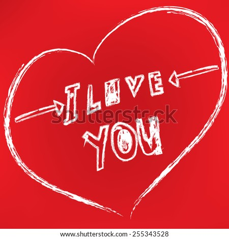 i love you hand drawn vector illustration - stock vector