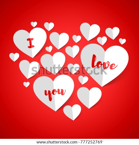 Love you happy valentines day greeting stock vector royalty free happy valentines day greeting card design made of paper hearts vector m4hsunfo