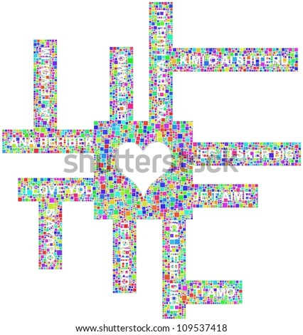 I love you in several languages - stock vector