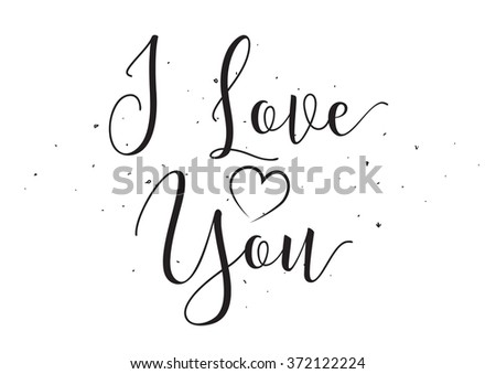 I Love You inscription. Greeting card with calligraphy. Hand drawn design elements. Black and white. Usable as photo overlay. - stock vector