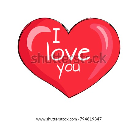 I love you inscription on red heart shape symbol of eternal love vector illustration icon isolated on white background. Air balloon or pillow design