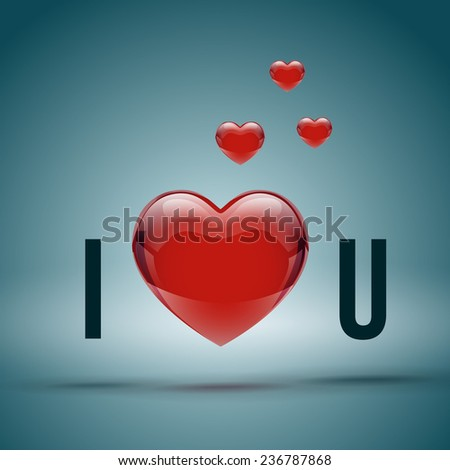 I Love You, Inscription with realistic red heart. Vector illustration - stock vector