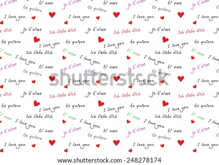 I love you international - stock vector