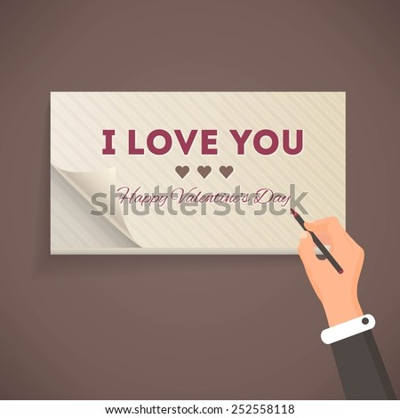 I Love You Lettering, Flat Style Pencil and Notebook Write Design - stock vector