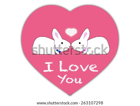 I love you message with rabbit cartoon and heart, concept of love - stock vector