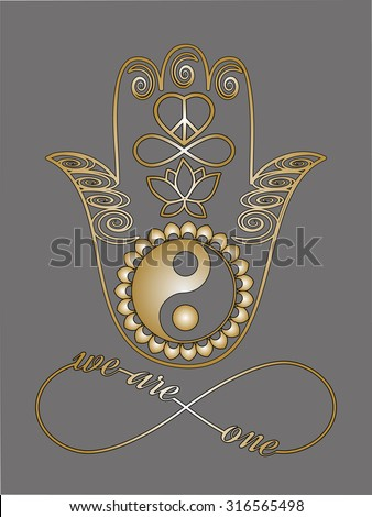 I love you note Love card Unity concept Mystic spiritual symbols Gold lines tattoo set: Buddha hand, Ying Yang symbol, Lotus flower, Infinity sign, Peace and love symbol, Metallic gold and black lines - stock vector