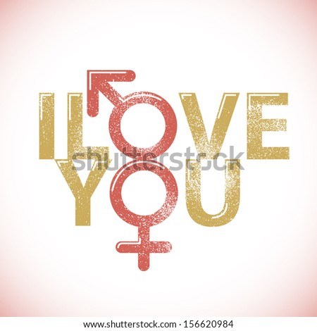 I love you print vector background - stock vector