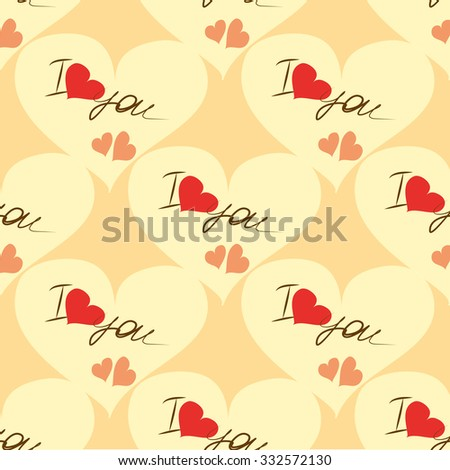 I love you. Seamless pattern with hearts. Vector - stock vector
